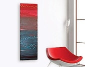 SUMERiA original abstract modern painting - gallery fine art - contemporary interior design - ooak home wall decor - teal red