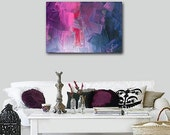 CIJ SALE - original abstract modern painting - gallery fine art - contemporary interior design - ooak home decor - red purple grape