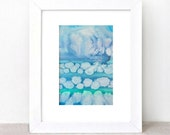 original abstract watercolor painting - gallery fine art - modern contemporary interior design - ooak home wall decor - blue clouds