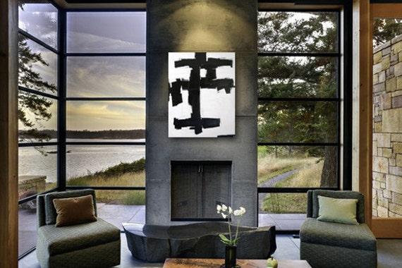 HiROSHiGE original abstract modern painting - gallery fine art - contemporary interior design - ooak home wall decor - black white