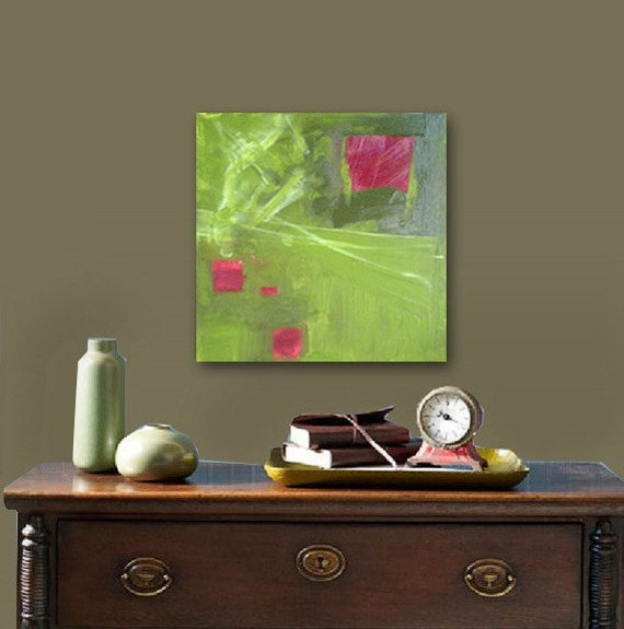 RoSE GaRDEN original abstract modern painting - gallery fine art - contemporary interior design - ooak home wall decor - green red