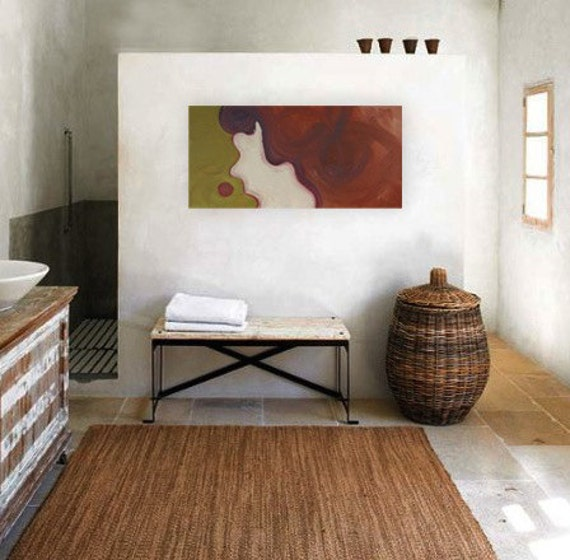 SALE - original abstract modern painting - gallery fine art - contemporary interior design - ooak home wall decor - rust brown