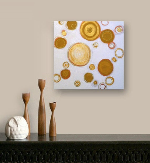 PENNiES FROM HEAVEN original abstract modern painting - gallery fine art - contemporary interior design - ooak home wall decor - gold