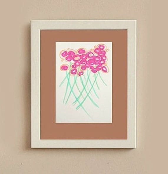 SALE - original abstract modern painting on paper- gallery fine art original - contemporary interior design - pink flowers