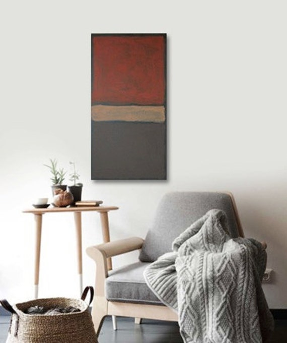 EZEKiEL original abstract modern painting - gallery fine art - contemporary interior design - ooak home wall decor - black red neutral