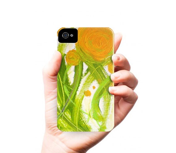 POPPiES iPhone 4/4S case - orange green flowers - contemporary fine art - abstract painting - phone case