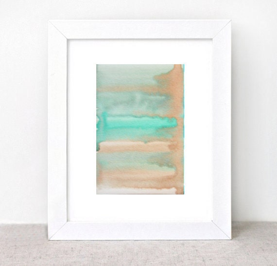 original abstract watercolor painting - gallery fine art - modern contemporary interior design - ooak home wall decor - peach tan green