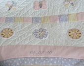 Custom Made Personalized Butterflies and Flowers Baby Quilt