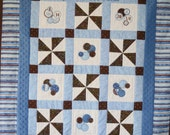 Custom Made Personalized Baby Quilt Dots and pinwheels brown blue