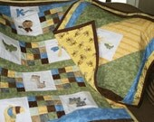 Custom Made Jungle animal Baby Quilt Set