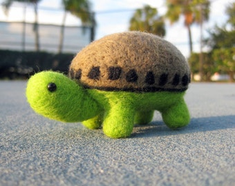 Miniature Turtle - Felted Animal - Soft Sculpture