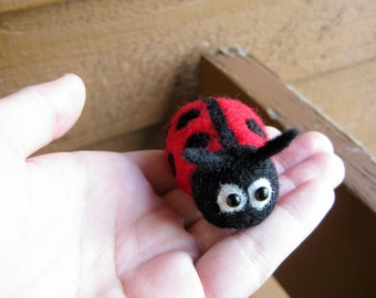 Ladybug Miniature - Needle Felted Animal - Soft Sculpture