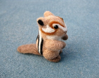 Felted Chipmunk - Animal Miniature - Needle Felted Soft Sculpture