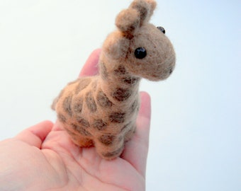 Giraffe Miniature - Needle Felted Animal - Felted Giraffe Doll