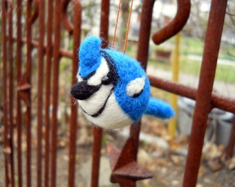 Bluejay Bird Ornament- Felted Christmas Ornament - Needle Felted Animal