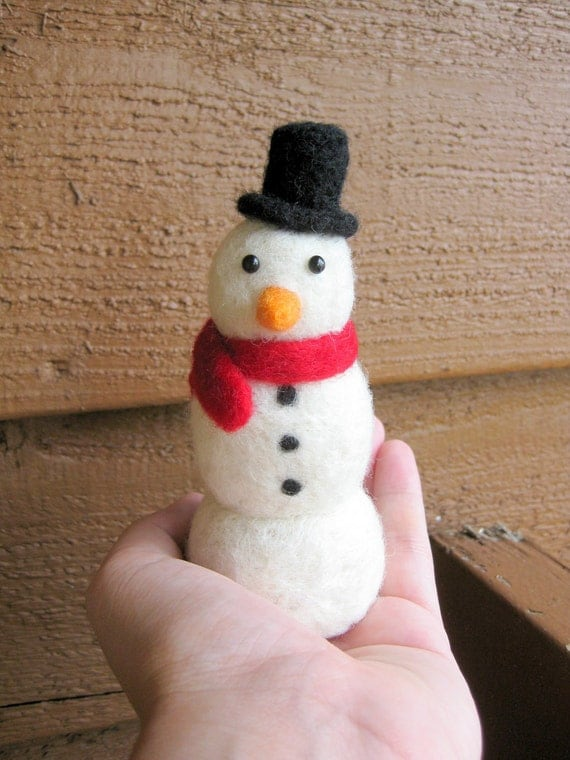 Snowman Figurine - Needle Felted - Soft Sculpture - MADE TO ORDER