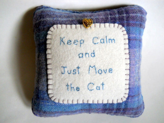 """Cat Pillow - """"Keep Calm and Just Move the Cat"""" - Novelty Throw Pillow"""