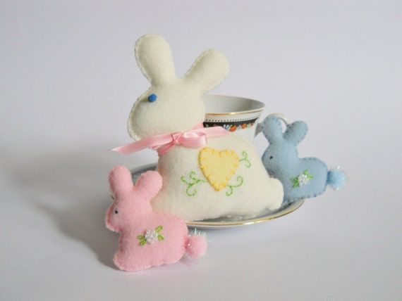 Bunny Miniatures - Stuffed Bunnies - Easter Bunny Decorations - Plush Rabbit Dolls - Pastel Bunny Family