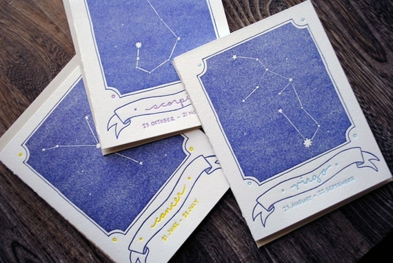 Letterpress Zodiac Constellation Cards