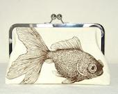 Clutch Purse - Bag - Goldfish - Turtle - Kisslock - Silk Lining - 8 inch wide - Marine Biology - Sealife - Brown - Clutch Purse with Frame