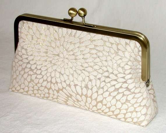 Clutch Purse - Kisslock - Handbag - Gold Firework - 8 inch wide - Gold - Ivory - Embroidery - Clutch Purse with 15 inch Chain