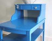 RESERVED FOR JEANNE Sapphire Blue Vintage Accent Table, Made by Mersman Mid Century
