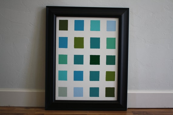 "Bold Squares and Fun Wall Art, Shades of Blue and Green, 18"" by 24"" Painted Canvas"