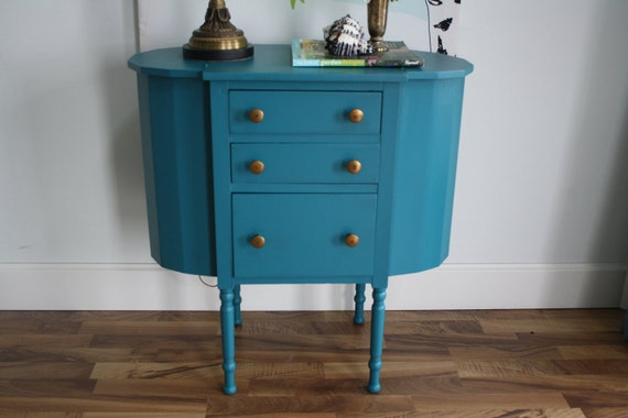 RESERVED MIRANDA Teal Vintage Accent Side Table, Beautiful and Unusual Style