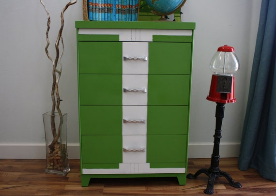 RESERVED FOR JOSH Mid Century Modern Vintage Highboy 1960's Dresser Re-styled in Green Foliage and White, Mod Retro