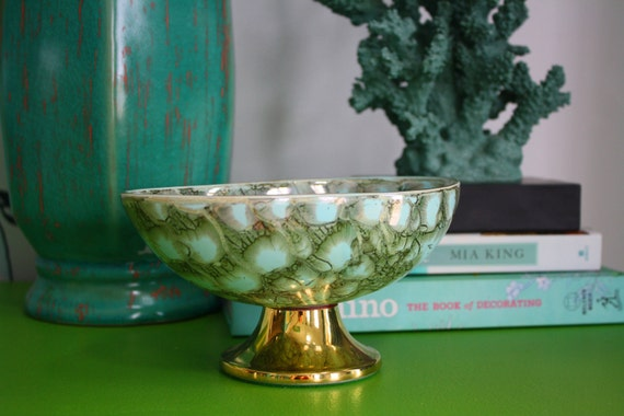 Vintage Hand Painted Ceramic Pedestal Bowl Aqua and Gold