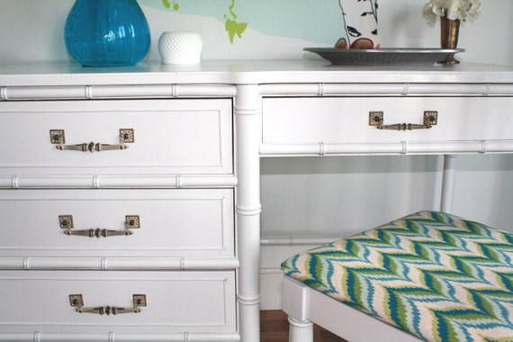 Faux Bamboo Bali Hai Desk and Chair by Henry Link Refreshed in White and Turquoise Chevron