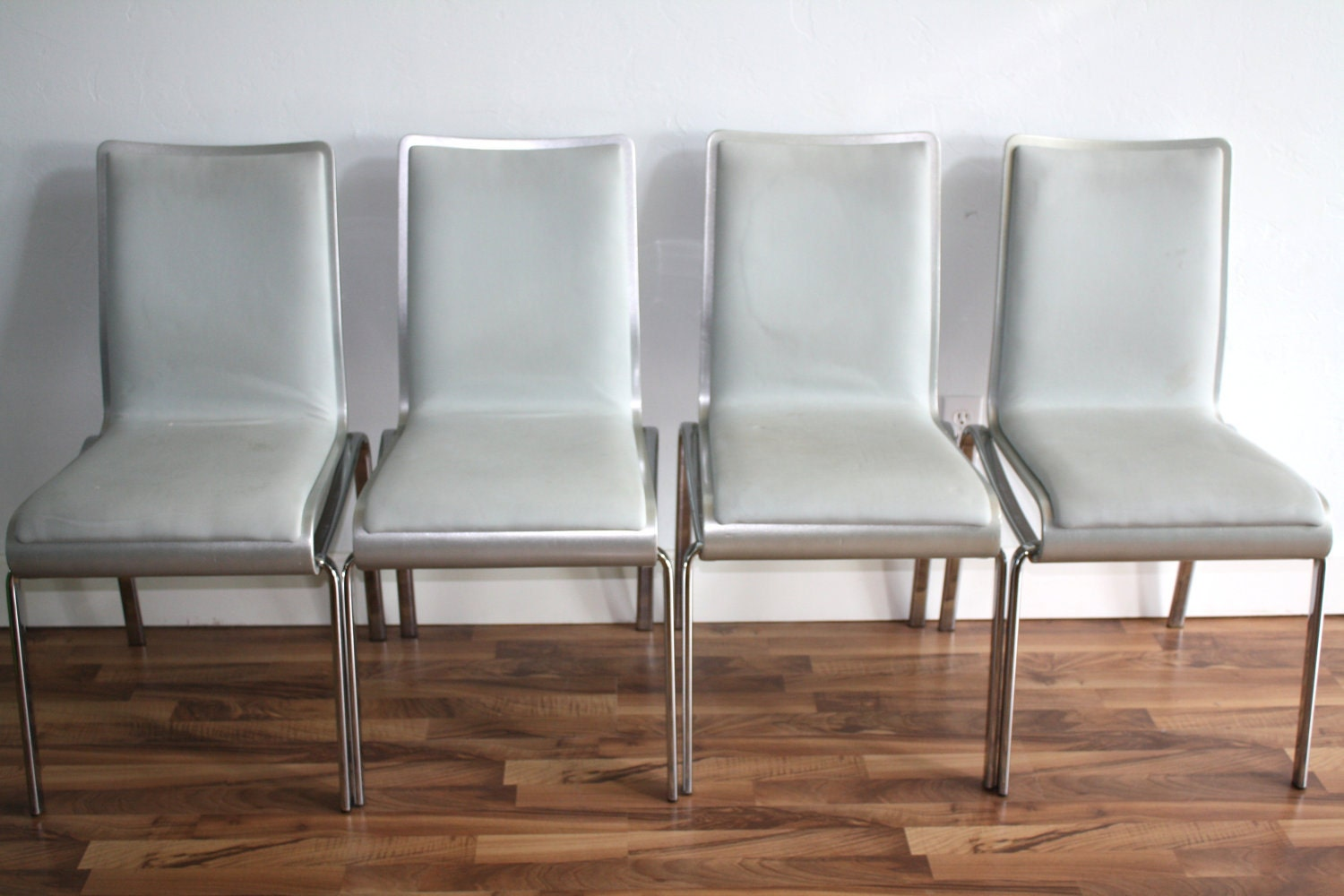 set of  leather dove gray and silver dining chairs - 🔎zoom