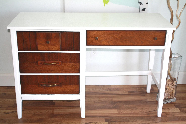 Mid Century Modern White Desk Wood And Original Hardware