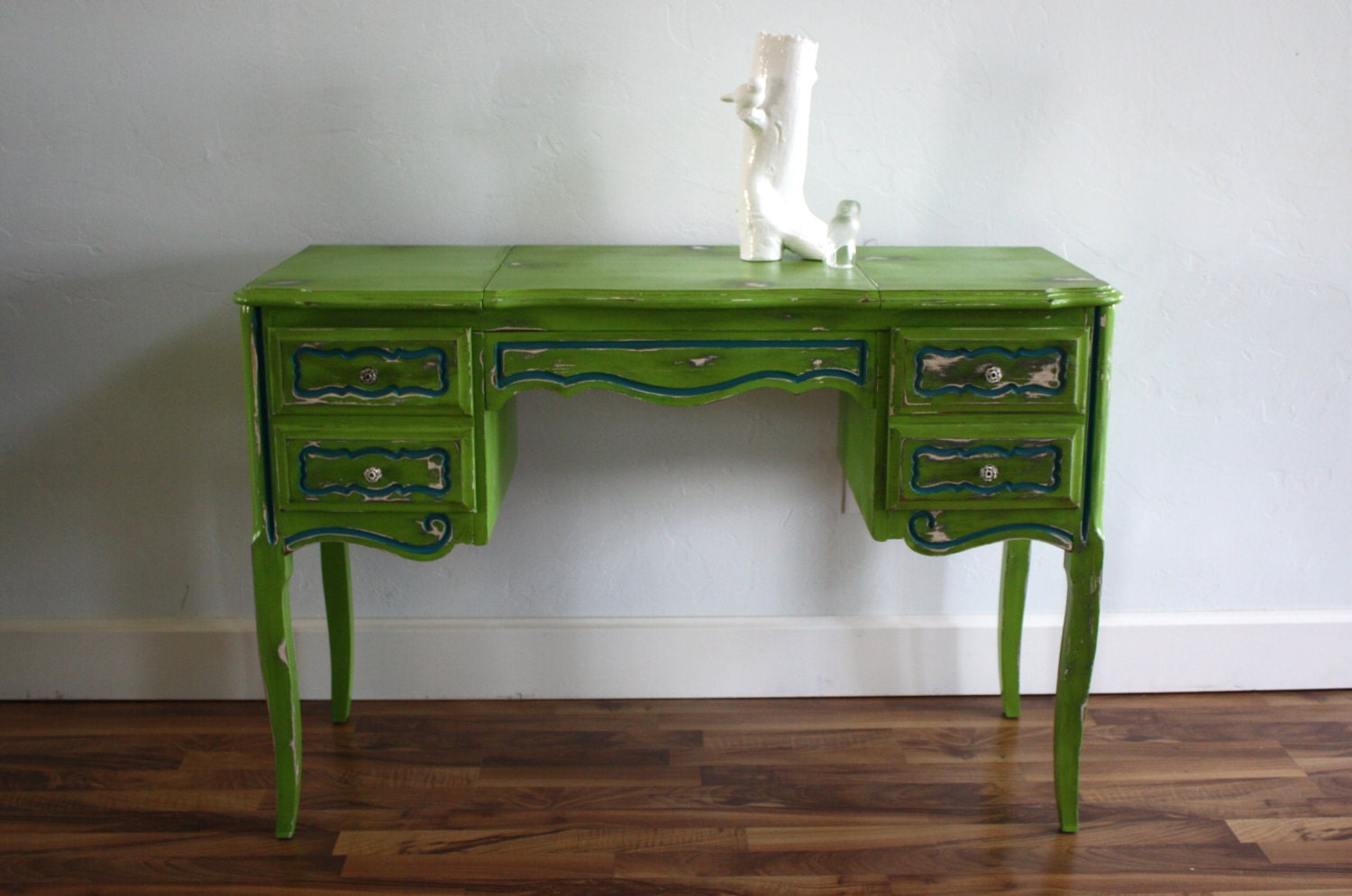 Green And Teal Vintage French Provincial Desk And Vanity With