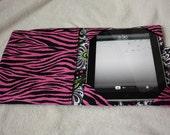 iPad cover, iPad2 Cover,  iPad 3 cover, ipad cozy, ipad case - Pink, green, white, black zebra stripe and flowers