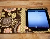 iPad cover, iPad2 Cover, ipad 3 cover, ipad cozy, ipad case book cover - green, brown, Amy Butler Olive Lacework
