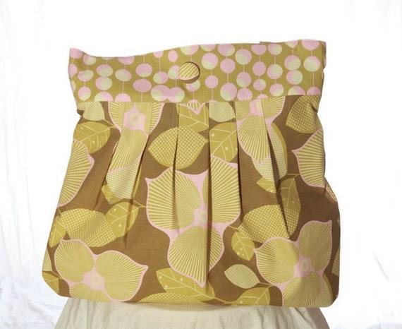 Large Weekender Tote - Amy Butler - Optic Blossom in Olive - pink, floral, summer
