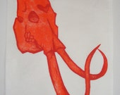 Orange Mammoth Skull Woodcut Print