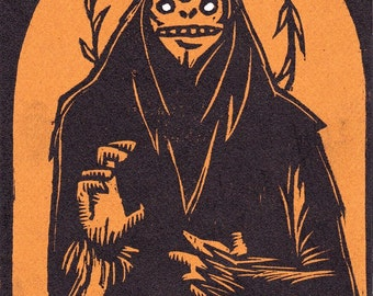 Saint Sasquatch woodcut print brown