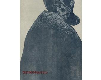 Destino Manifesto woodcut print
