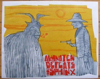 Akhnaten Defeats the Sphinx woodcut print
