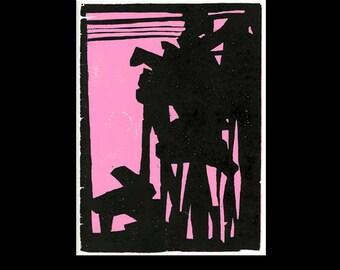 Abstract Pink Woodcut Print