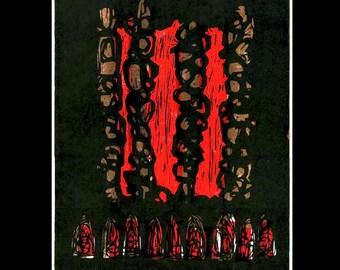 Smokestacks woodcut print