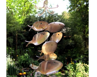 Large Wind Chime - Seven Silver Plated Spoon Fish Widchime - Great Gardener Gift - Recycled Scrap Metal Yard Art - Go Green This Spring