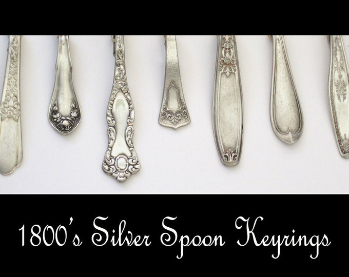 reserved for laura - monogramed 1800's silver spoon keyrings