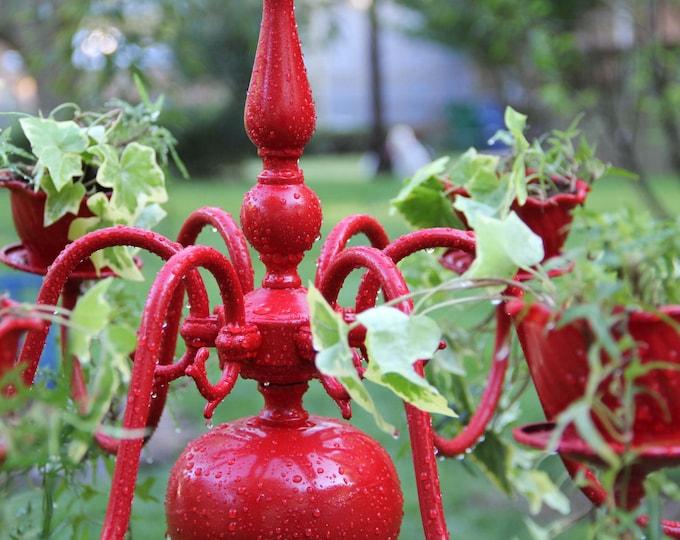Hanging Chandelier Planter - Flower Pot, Custom Fairy Garden, House Plant - Succulent Plant Unique Hen And Chick