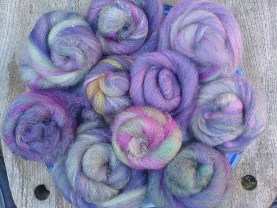 Viola: Purple plant dyed blended wool batts