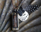 Forever Young Bob Dylan, Hand Stamped Harmonica Necklace