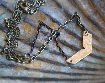 Path in Life, Arrow Necklace on Multi Brass Chains