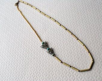 Tribal Vintage Brass and Quartz Arrow Necklace